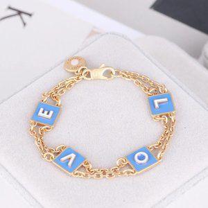 Tory Burch Blue Enamel Necklace Bracelet